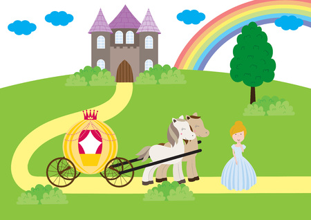 A children's style illustration showing the enchanted fairy tale world, princess, castle and carriage. Foto de archivo - 123166047