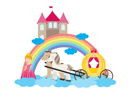 A children's style illustration showing the enchanted fairy tale world, princess, castle and carriage. Foto de archivo - 123166031