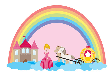 A children's style illustration showing the enchanted fairy tale world, princess, castle and carriage. Foto de archivo - 123166032