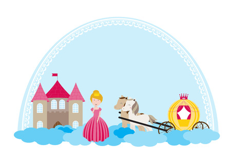 A children's style illustration showing the enchanted fairy tale world, princess, castle and carriage. Foto de archivo - 123166030