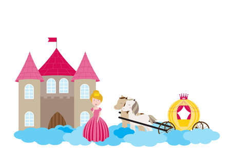 A children's style illustration showing the enchanted fairy tale world, princess, castle and carriage. Foto de archivo - 123166034