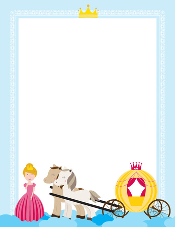 A children's style illustration showing the enchanted fairy tale world, princess, castle and carriage. Foto de archivo - 123166035