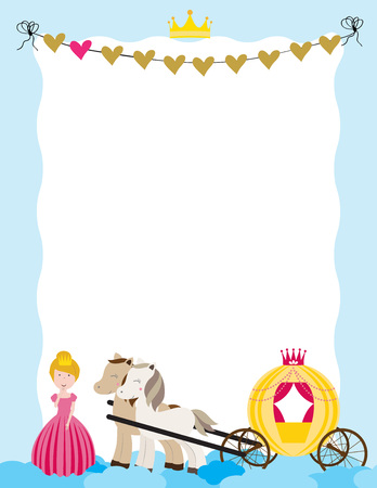 A children's style illustration showing the enchanted fairy tale world, princess, castle and carriage. Vectores