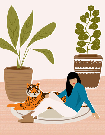 Girl and wild tiger resting on the carpet. Illustration from Africa collection