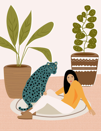 Girl and wild leopard resting on the carpet. Illustration from Africa collection Stock Illustratie
