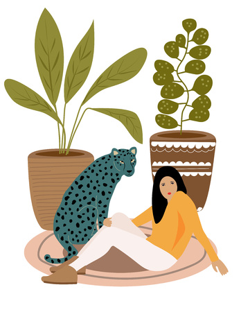 Girl and wild leopard resting on the carpet. Illustration from Africa collection Ilustrace