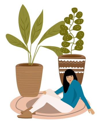 Beautiful girl resting on the carpet - vector illustration