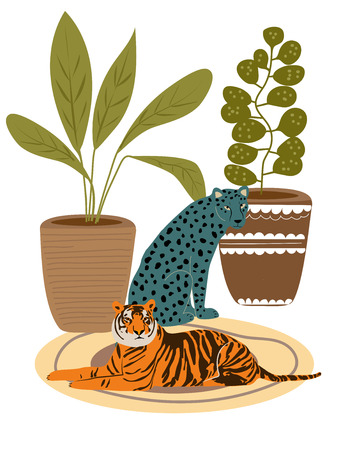 tiger and wild leopard resting on the carpet. Illustration from Africa collection