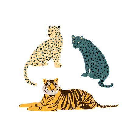 Isolated wiild cats - tiger, leopard and cheetah - vector illustartion
