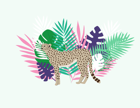 Leopard between leaves in the jungle - vector illustration
