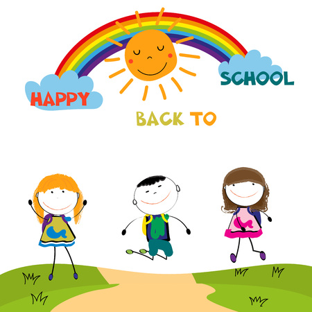 Happy boys and girls back to school after the holidays