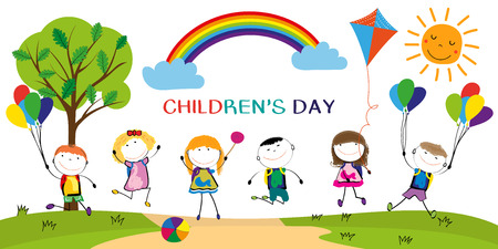 Childrens day, colorful rainbow and happy boys and girls.