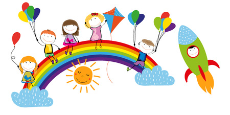 Childrens day, colorful rainbow and happy boys and girls. Stock Illustratie