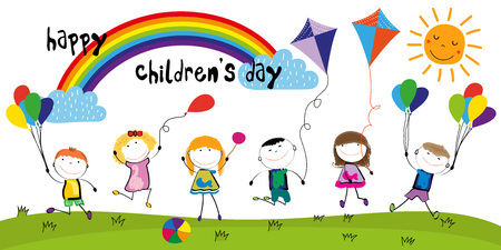 Childrens day, colorful rainbow and happy boys and girls.  イラスト・ベクター素材