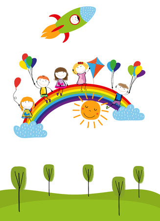 Childrens day, colorful rainbow and happy boys and girls. Ilustrace