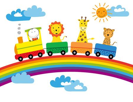 Rainbow, train and animals - colorful childrens illustartion