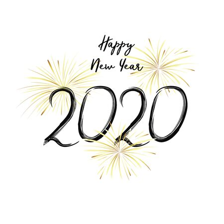 Happy New Year 2020. Black numbers and gold fireworks on white background. Handwritten letters. Stock Illustratie
