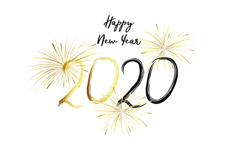 Happy New Year 2020. Black numbers and gold fireworks on white background. Handwritten letters. Ilustrace