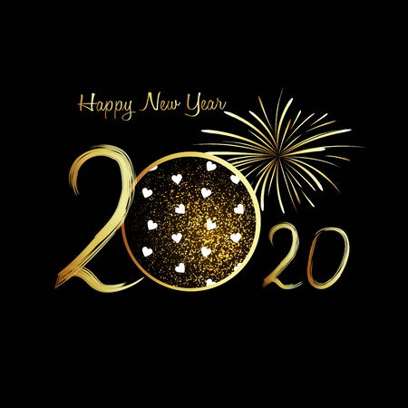 Happy New Year 2020. Gold numbers and gold fireworks on black background. Handwritten letters. Stock Illustratie