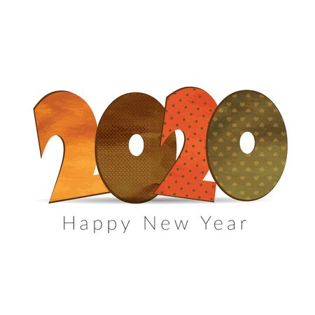 Happy New Year 2020. Colorful numbers in retro style.