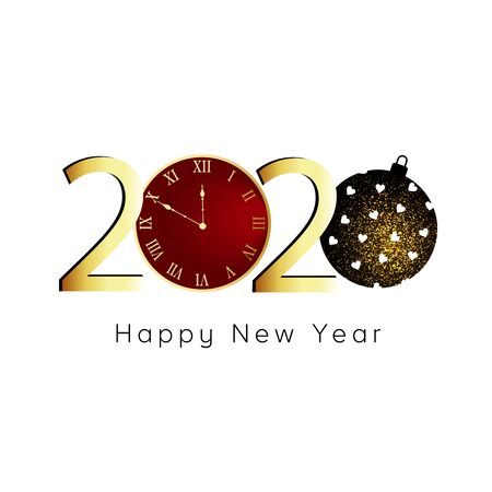 Happy New Year 2020. Gold numbers, glitter christmas ball on white background.  Stock Illustratie