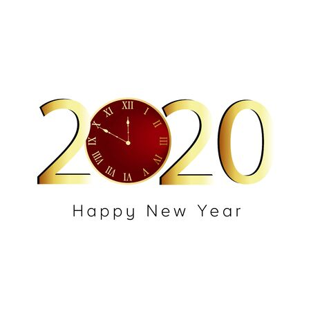 Happy New Year 2020. Gold numbers, red clock on white background.