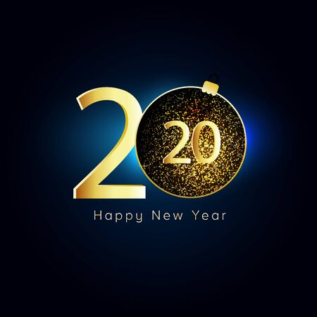 Happy New Year 2020. Gold numbers, glitter christmas ball on dark background.