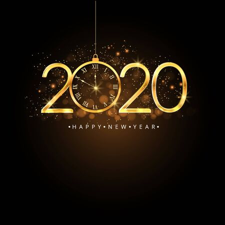 Happy New Year 2020. Gold numbers and clock on dark background.