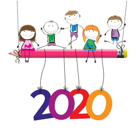 Colorful card for New Year 2020 with happy kids, vector illustartion.