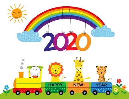 Colorful card for New Year 2020 with happy kids, rainbow and train. Vector illustartion.