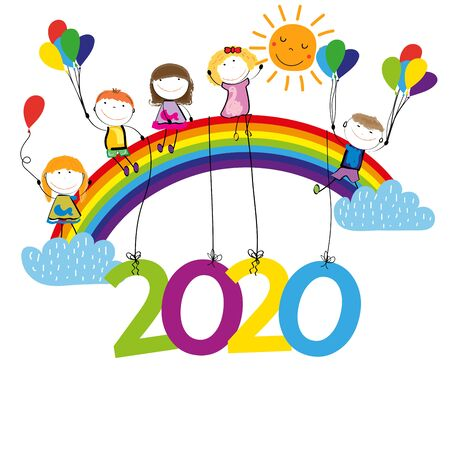 Colorful card for New Year 2020 with happy kids and rainbow. Vector illustartion. Stock Illustratie