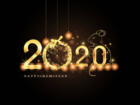 Happy New Year 2020. Gold numbers and christmas ball on dark background.