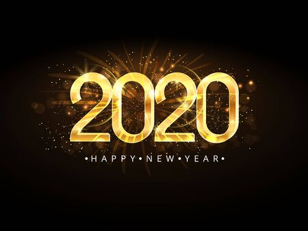 Happy New Year 2020. Gold numbers on dark background.