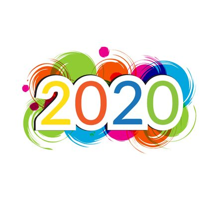 Happy New Year 2020. Colorful numbers on white background.