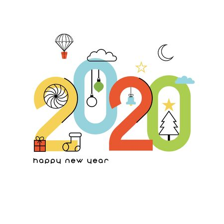 Happy New Year 2020. Colorful and simple card