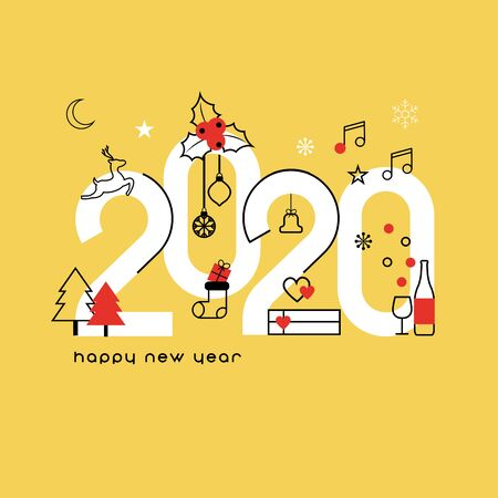 Happy New Year 2020. Vector illustration concept for background, greeting card. Website, mobile website and social media banner. Party invitation card and other marketing material.  Stock Illustratie