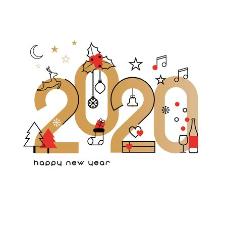 Happy New Year 2020. Vector illustration concept for background, greeting card. Website, mobile website and social media banner. Party invitation card and other marketing material.  Ilustrace