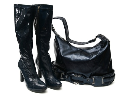 blue woman handbag and boots isolated