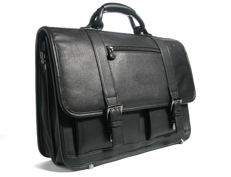 black leather briefcase isolated on white 免版税图像