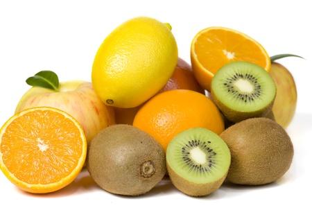 Pile of ripe fruits isolated on white 免版税图像