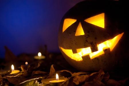 Still life with halloween pumpkin photo