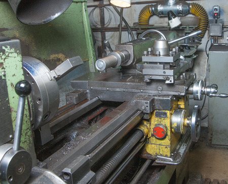 Close-up of an old lathe machine