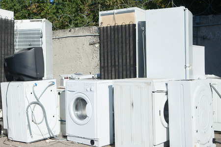 Junked home appliance ready for recycling Foto de archivo
