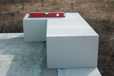 Starting corner concrete  blocks installation