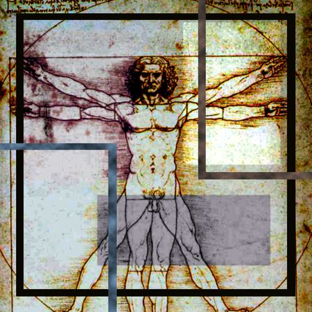 Leonardo Da Vincis Vitruvian Man composite with rectangles of various sizes added. Vitruvian is soft focus. Image is square in this abstract version of the classic drawing.