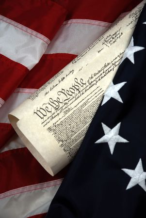 American Beginnings - Betsy Ross colonial flag and United States Constitution