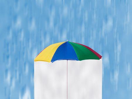 Summer Rain - colorful umbrella and downpour