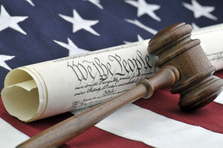 ruling: Constitution - Gavel, document, and American flag