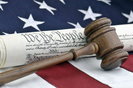 arbitrate: American Justice - Constitution, Wooden Gavel, and US Flag