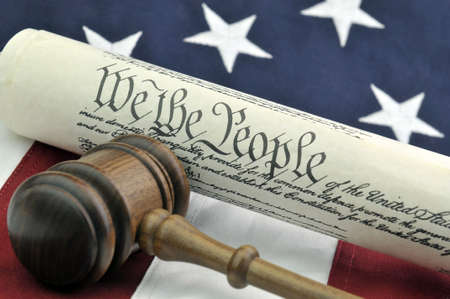 Constitution, Wooden Gavel, and US Flag